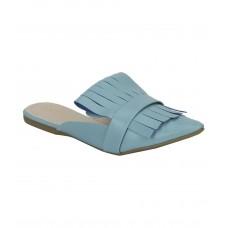 Estatos Leather Blue Pointed Toe Flat Mules