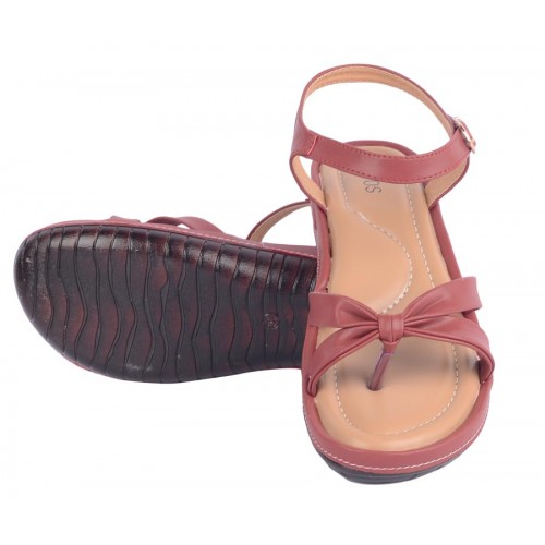 Estatos Maroon Buckle Closure Open Toe Casual Sandals