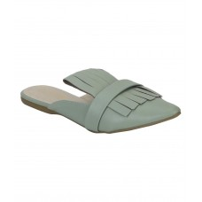 Estatos Leather Sea Green Pointed Toe Flat Mules