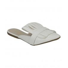 Estatos Leather White Pointed Toe Flat Mules