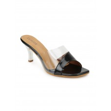 Artificial Leather Pointed Heeled Black Sandals