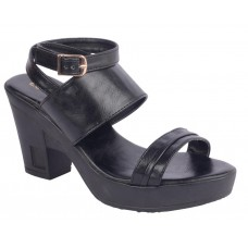 Estatos Synthetic Leather Buckle Closure Twin Strap Black Block Heel Sandals