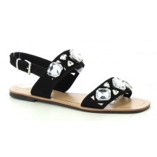 Black Sandal with Crystal Studs