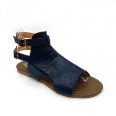 Ladies Leather Look Ankle Sandals