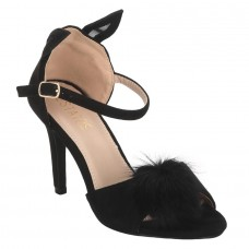 Ladies Kitten Heel Sandals with Fur