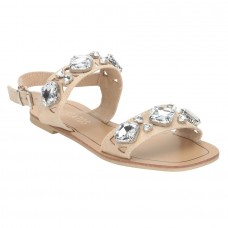Beige Sandal with Crystal Studs