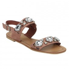 Pink Sandal with Crystal Studs