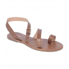 Estatos Brown Colour Synthetic Leather Multi Strap Open Toe Casual Flats