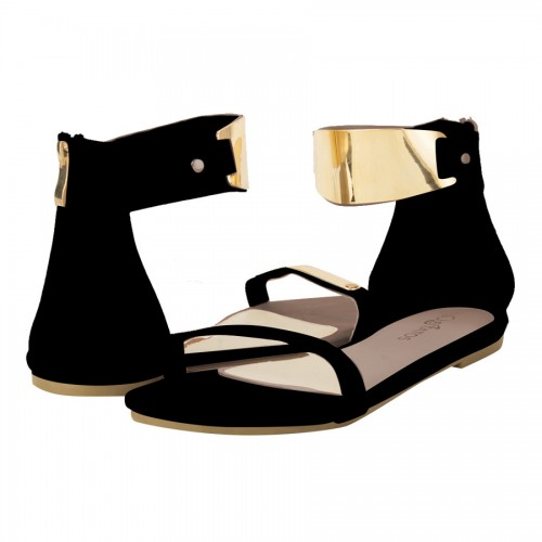 Black Metal Decorated Sandals