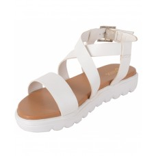 Faux Leather Open Toe Cross Strap Buckle Closure Mesh Style White Platform Heel Sandals for Women