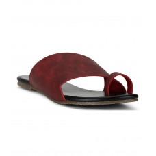 Estatos Maroon Colour Broad Strap Open Toe Casual Flats