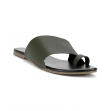 Estatos Olive Colour Broad Strap Open Toe Casual Flats