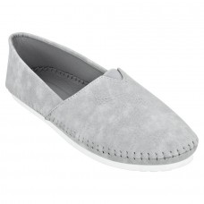 Frosted Suede Leather Broad Toe Grey Comfortable Flat Slip On Espadrilles for Women