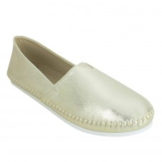 Frosted Suede Leather Broad Toe Golden Comfortable Flat Slip On Espadrilles for Women