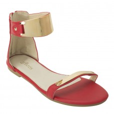 Red Metal Decorated Sandals