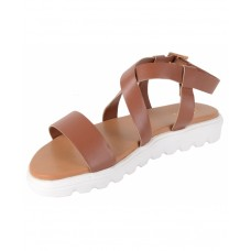 Faux Leather Open Toe Cross Strap Buckle Closure Mesh Style White Platform Heel Brown Sandals for Women