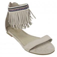 Suede Leather Open Toe Ankle Fringed Strap Zip Closure Beige Melange Flat Sandals for Women
