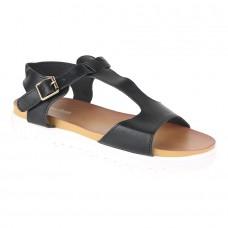 Black T Strap Faux Leather Sandals