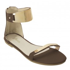 Brown  Metal Decorated Sandals