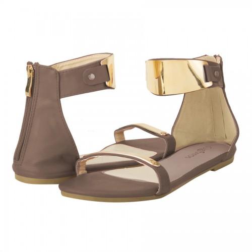 Brown  Metal Decorated Sandals