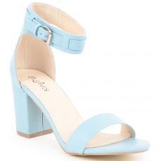 Matte Leather  Blue Block Heeled  Sandals