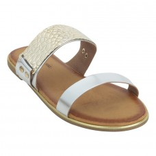 Shiny Leather Open Toe Twin Strap Silver Party Wear Comfortable Flats for Women