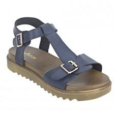 Navy Blue Faux Leather Sandals