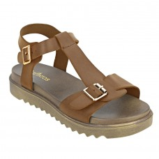 Faux Leather Open Toe T Strap Buckle Closure Brown Platform Heel Dark Brown Sandals for Women