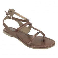 Summer Cool Leather Mesh Style Buckle Closure Brown Flat Sandals for Women