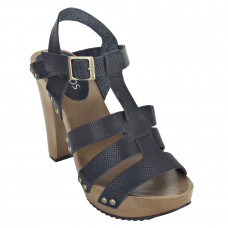 Pattern Leather Open Toe Buckle Closure Block Wooden Heel Black Gladiator Sandals for Women