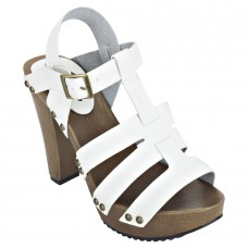 Pattern Leather Open Toe Buckle Closure Block Wooden Heel White Gladiator Sandals for Women