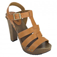 Pattern Leather Open Toe Buckle Closure Block Wooden Heel Brown Gladiator Sandals for Women