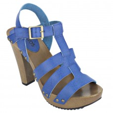 Pattern Leather Open Toe Buckle Closure Block Wooden Heel Blue Gladiator Sandals for Women