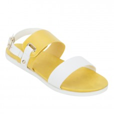 Faux Leather Open Toe Mustard and White Twin Strap Buckle Closure Flat Sandals for Women