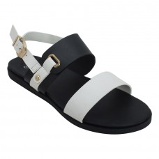 Black and White Twin Strap Sandals