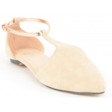 Suede Leather With Shiny Golden Strap Flat Nude/Beige/Cream Sandals