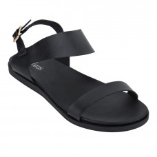 Metallic Shine Leather Open Toe Buckle Closure Black Flat Sandals for Women