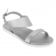 Metallic Shine Leather Open Toe Buckle Closure Silver Flat Sandals for Women