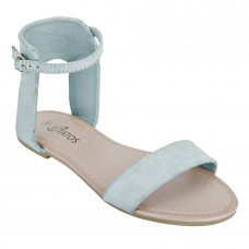 Frosted Leather Open Toe Ankle Strap Buckle Closure Light Blue Flat Sandals for Women
