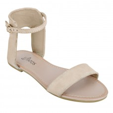 Frosted Leather Open Toe Ankle Strap Buckle Closure Light Brown Flat Sandals for Women