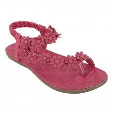 Faux Leather Flower Decorated Toe Strap Elastic Closure Padded Sole Pink Flat Sandals for Women