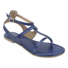 Summer Cool Leather Mesh Style Buckle Closure Blue Flat Sandals for Women