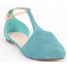 Suede Leather With Shiny Golden Strap Flat Green/Blue/Turquoise Sandals