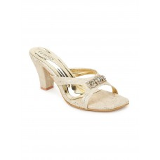 Synthetic Leather Pointed Heeled Gold Color Sandal