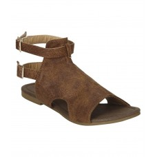 Ladies Leather Look Ankle Sandals