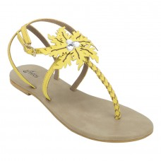Summer Cool Leather Embellished with Laser Cut Flower Buckle Closure Light Yellow Flat Sandals for Women