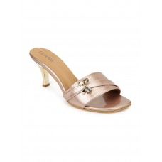 Synthetic Leather Cone Heeled Pink Sandal
