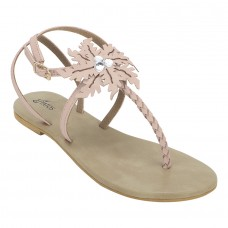 Summer Cool Leather Embellished with Laser Cut Flower Buckle Closure Pink Flat Sandals for Women