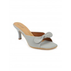 Synthetic Leather Pointed Heel Grey Sandals