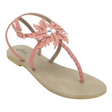 Summer Cool Leather Embellished with Laser Cut Flower Buckle Closure Peach Flat Sandals for Women